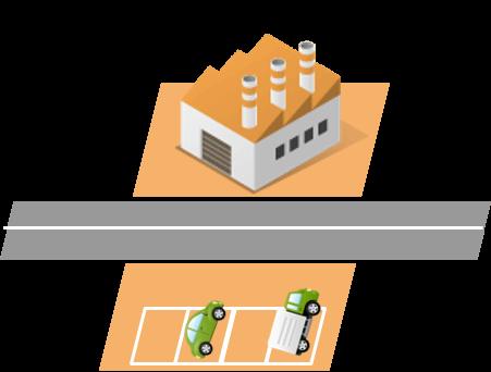 道路をはさみ、工場と駐車場を所有